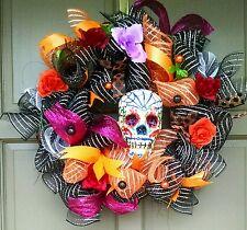 Handmade Halloween Day of the Dead Wreath Dia De Los Muertos Sugar Skull Decor