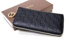 New Gucci Authentic Women's Black Linea Guccissima Leather Zip Around Wallet