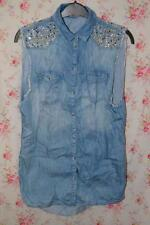 DISTRESSED BLUE TOPSHOP MOTO SLEEVELESS JEWEL EMBELLISHED DENIM SHIRT UK 8