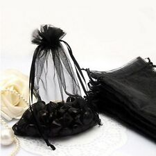 100Pcs Black Organza Packing Pouches Wedding Favor Party Candy Gift Bag 9x7CM