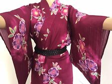 Japanese dark wine red cotton summer yukata kimono for women, flowers (I687)