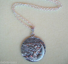 "Large Moon Fairy Angel Goddess Pendant 24"" Chain Necklace in Gift Bag"