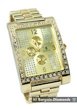 mens big gold tone watch CZ ice out bling link bracelet clubbing hip hop man