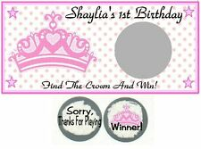 10 Princess Crown Tiara Baby Shower Birthday Party Scratch Off Game Card Tickets