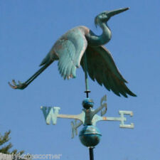 COPPER  PATINA HERON WEATHERVANE WITH COPPER BALLS AND BRASS DIRECTIONALS #121G