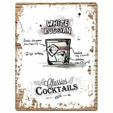 PP0677 Cocktails White Russian Chic Plate Sign Home Bar Store Cafe Pub Decor