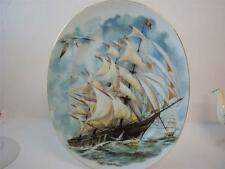 FINE PORCELAIN TALL SHIPS WITH GILT TRIM LARGE OVAL PLATE / PLATTER