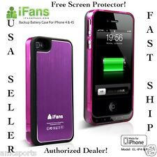 FOR iPHONE 4 4s 1450mAh BLACK/PRPL EXTERNAL BACKUP BATTERY CHARGER CASE COVER