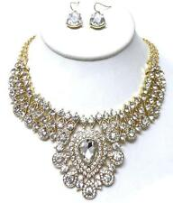 E2 Formal Bridal Prom Rhinestone NECKLACE EARRING SET Crystal Glass Victorian