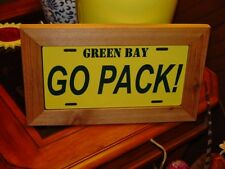 GREEN BAY PACKERS FRAMED LICENSE PLATE SIGN RUSTIC CEDAR GO PACK
