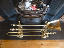 Set of Antique Brass Fire Irons on Stands- Fire Companion,Tongue,Poker, Shovel