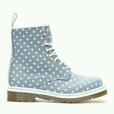 Womens DR MARTENS CASTEL 8-Eye BLUE WHITE POLKA DOT CANVAS lace boots US 11 UK 9