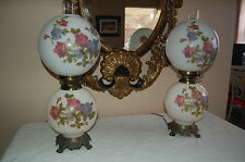 Pair Antique White With Flowers Gone With the Wind Lamp Oil Kerosene Electrified