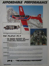 2/1989 PUB PILATUS PC-9 TRAINER SUISSE ALPES AIRCRAFT FLUGZEUG ORIGINAL AD