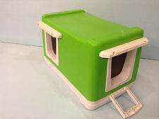 HEATED CAT POD/2 DOORS GREEN (SHIPS NEXT BUS. DAY) OUTDOOR CAT HOUSE, SHELTER