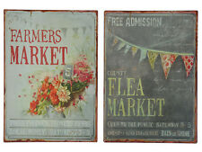 Shabby Vintage Chic Metal Wall Plaque Sign - Flea and Farmers Market Set 2 NEW