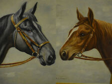 Antique Horse Paintings Lot of two Artist H. Linnet Oil painting horse portraits