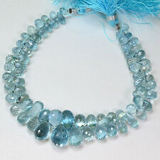 Gem Aquamarine Faceted Teardrop Briolette Bead 7.5 inch strand