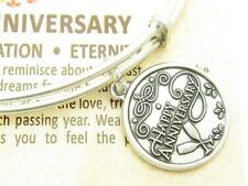 Wind and Fire Happy Anniversary Charm Silver Wire Bangle Stackable Bracelet Gift
