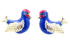 Cristalli color oro occhio blu e rosso smalto uccello orecchini a perno