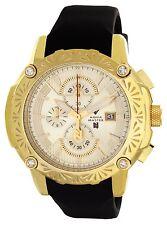 Aqua Master El Russo Gold Dial Black Rubber Band Mens Diamond Watch NJ102