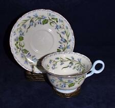Shelley China, 17544 Blue Flowers, Gold Trim Footed Cup & Saucer Set
