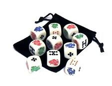 Set of 10 Rounded Corner 16mm Poker Dice with Black Velveteen Dice Bag