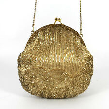 Vintage Gold Beaded La Regale Evening Frame Bag Purse