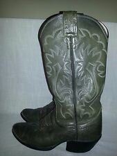 Vintage OLATHE Green Leather Western Cowboy Boots EMBROIDERED Mens Size 7 D USA