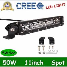 Single Row 50W CREE LED Work Light Bar 11inch Spot Beam Truck IP67 Boat 12V 24V