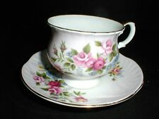 Crown Staffordshire English Bone China Floral Footed Cup Saucer -Gorgeous