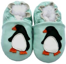 Littleoneshoes Soft Sole Leather Baby PenguinBlue Shoes 12-18M