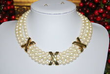 WONDERFUL VINTAGE RUNWAY COUTURE FAUX PEARLS GOLD TONED METAL X CHOKER NECKLACE