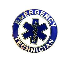 Emergency Technician EMT Cap Lapel Pin Silver Plated Blue of Star Life 60S2 New