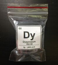 Dysprosium Element Display Sample   2g   99% Pure   Element 66 Dy