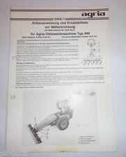 Anbauanweisung + Ersatzteilliste 0446/1 Agria Mäheinrichtung Typ 400 Stand 1983