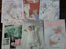 6~Vtg Christening Layettes Knit Crochet Patterns Baby Gowns Booties Leisure Arts
