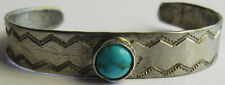 SO SWEET VINTAGE NAVAJO INDIAN SILVER TURQUOISE CUFF BABY BRACELET