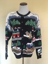 Sweater Loft New York Christmas Town Navy Cardigan Sweater Size Medium