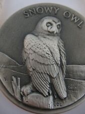 1-OZ .925 STERLING SILVER LONGINES WILDLIFE SERIES DETAILED SNOWY OWL COIN+GOLD