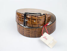 NWT. BRIONI Brown Crocodile Leather Belt Silver Buckle 85/32