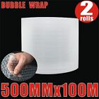 2x Bubble Wrap Roll 500mm x 100M (meter) 10mm Bubbles P10 Clear Bubblewrap