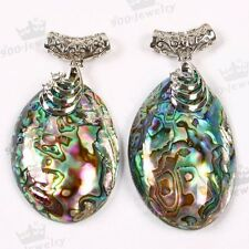 Natural Crystal Abalone Mother Of Pearl MOP Shell Bead Pendant Jewelry DIY Gift
