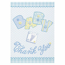8 Baby Blue Stitching Baby Shower Party Thank You cards Plus Envelopes