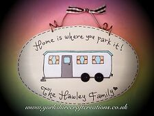 Personalised STATIC Caravan Sign Home is where you park it Plaque with names