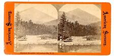 Keene Valley NY-HAYSTACK MOUNTAIN FROM AUSABLE LAKE-American Scenery Stereoview
