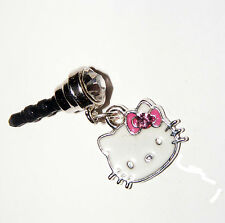 hello kitty Pink Bow phone charm plug anti-dust 3.5mm iphone 4 4s 5G MP3 player