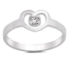 USA Seller Baby Heart Ring Sterling Silver 925 Best Deal Jewelry Clear CZ Size 3