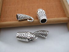 2 Sets Tibetan Silver Alloy Snake Head Hook Clasp For 6.5mm Round Leather Cord