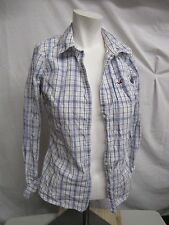Hollister Long Sleeve Western Button Up Juniors Ladies Sz med White Blue B247